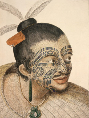 Parkinson, Sydney, Dessin d'un chef maori, A journal of a voyage to the South Seas. Londres, 1784.