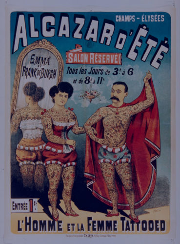 Alcazar d'été. Enna et Franck de Burgh, l'homme et la femme tattooed, Paris, 1886.